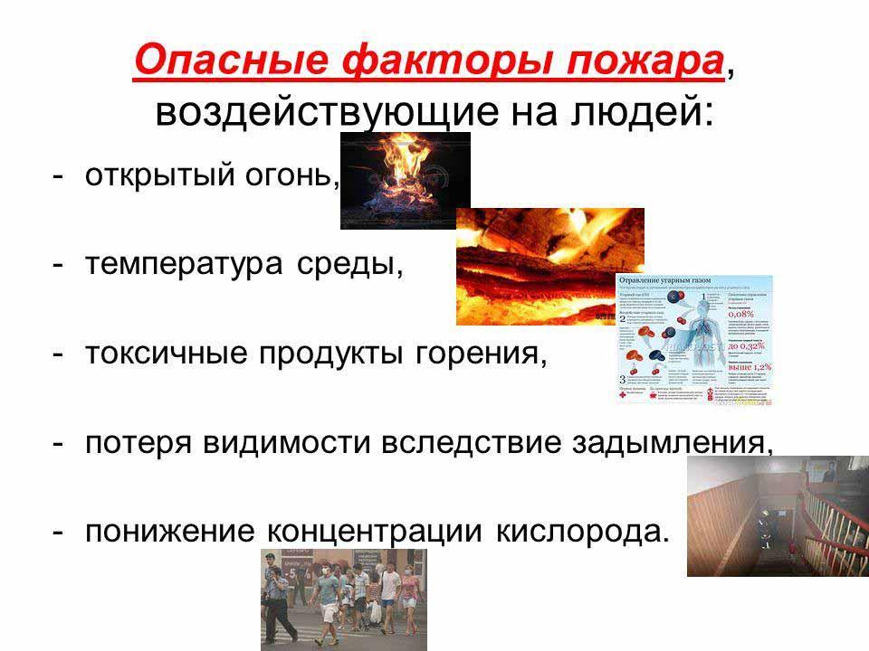 Опасные факторы пожара и их характеристика