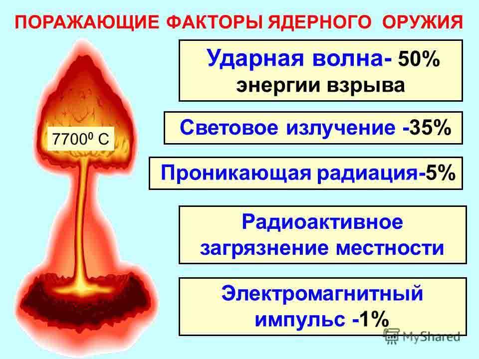 Разновидности ядерного оружия и поражающие факторы