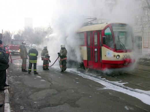 Тушение пожаров в гаражах троллейбусных парках