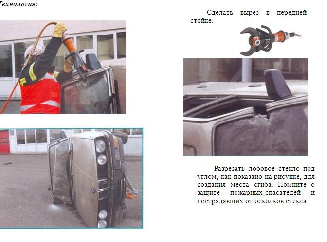 вскрытие крыши опрокинутого автомобиля