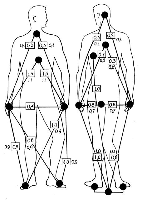 Схема расположения опасных точек на теле человека.