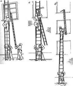 Использование лестницы -штурмовки