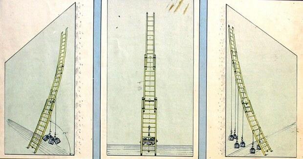 Испытание выдвижной трехколенной лестницы