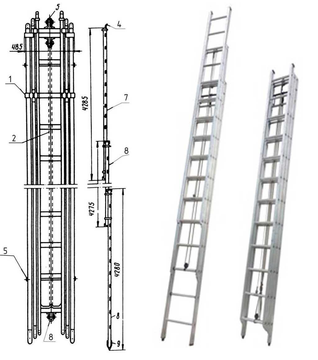 Лестница выдвижная трехколенная Л-60