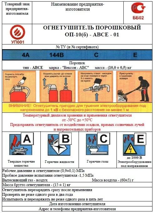 Пример этикетки на огнетушитель