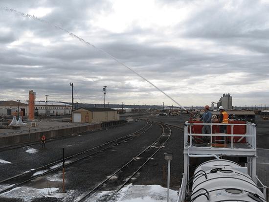 Робота пожарного поезда США