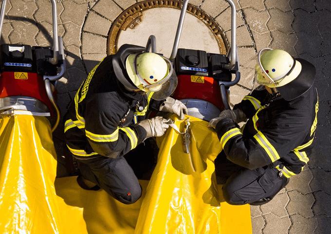 Установка пожарного дымососа для воздушной подушки