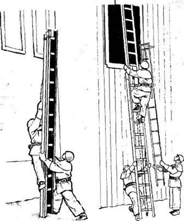 Установка выдвижной трехколенной лестницы