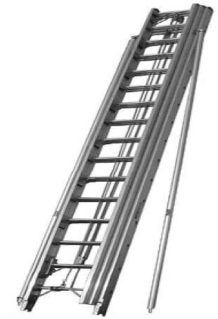Выдвежная лестница с дополнительными опорами