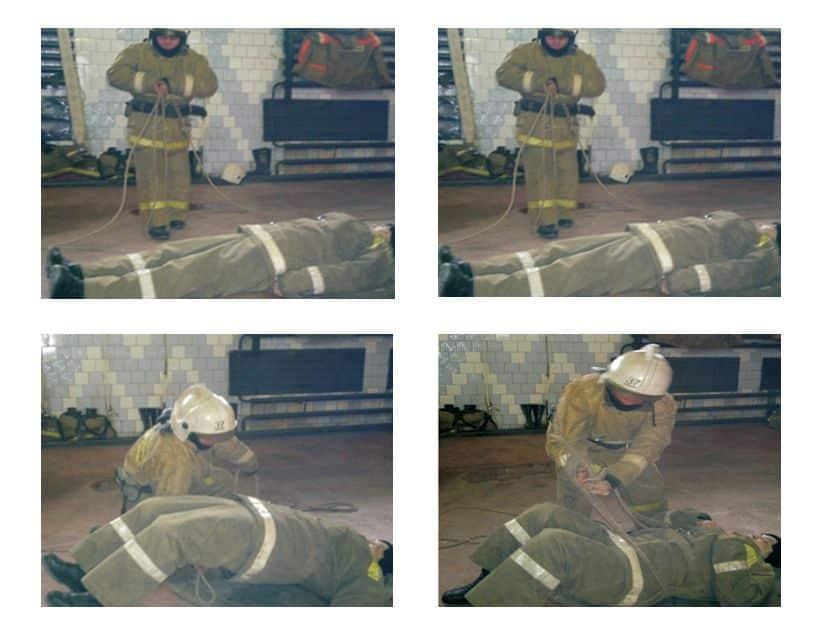 Вязка двойной спасательной петли с надеванием ее на спасаемого