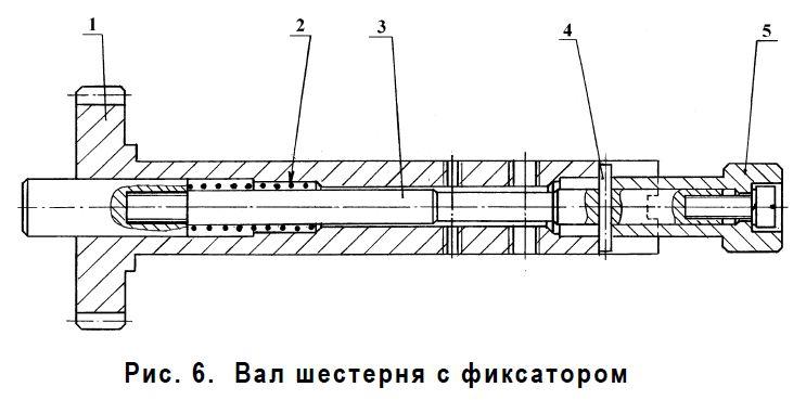 Вал шестерни с фиксатором КРВД-400-60А 90А