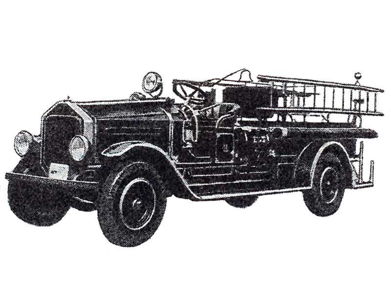 Пожарный автомобиль на котором лестница укреплена на боку вдоль шасси