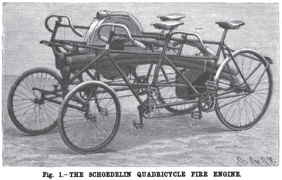 Пожарный велосипед квадроцикл Shoedelin. Франция, 1896 год