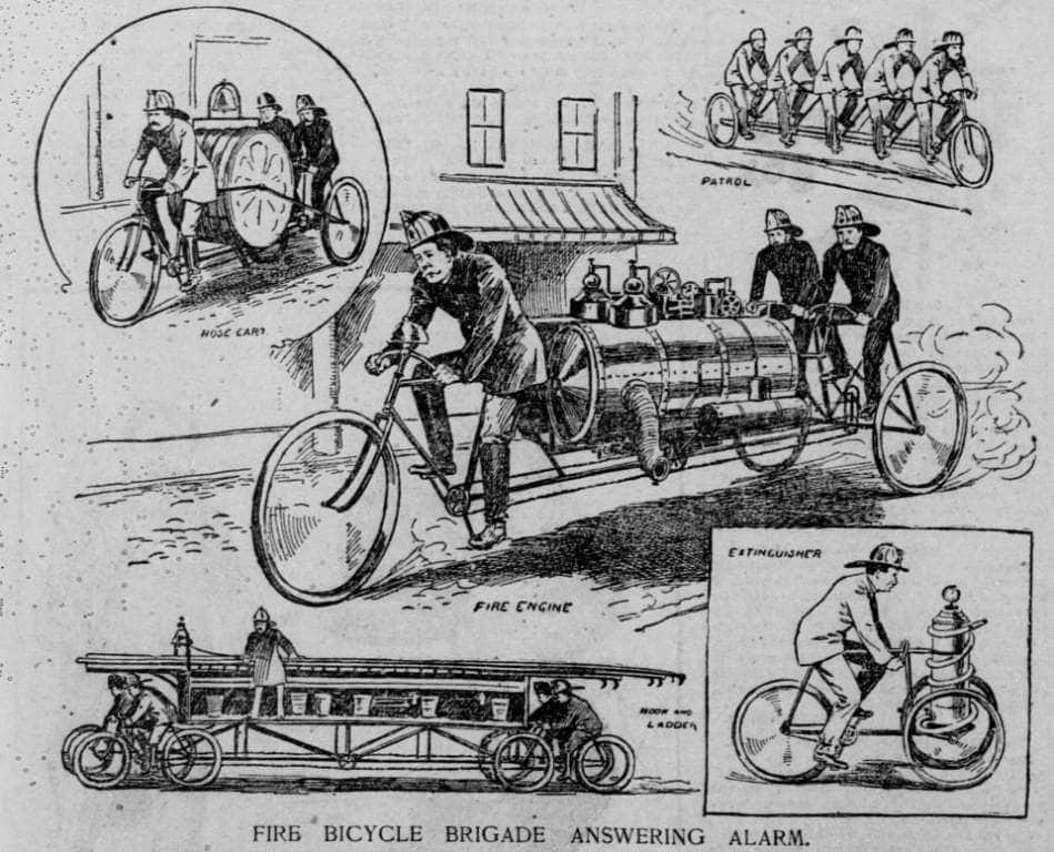 Применение пожарного велосипеда в США, 1896 год