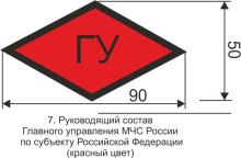 Маркировка для руководящего состава Главного управления МЧС России по субъекту РФ