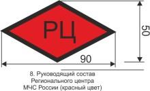 Маркировка для руководящего состава Регионального центра МЧС России