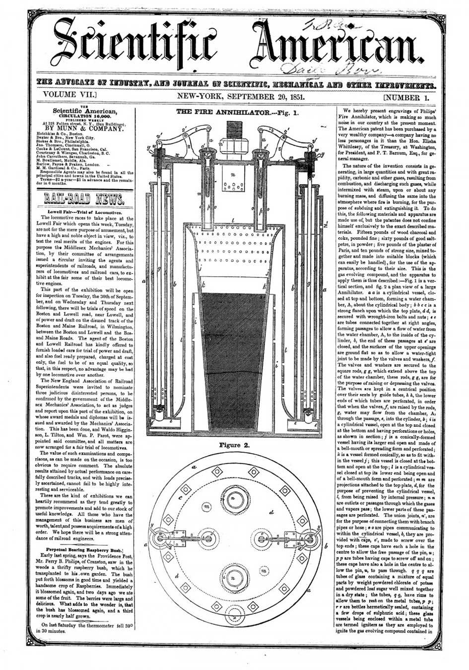«Уничтожителя Огня» (Fire Annihilator) Филипса. Иллюстрация из газеты «Scientific American» от 20.09.1851