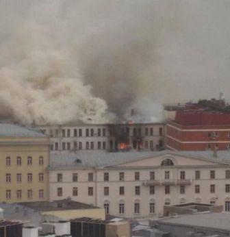 пожар в Мосвке Минобороны здание