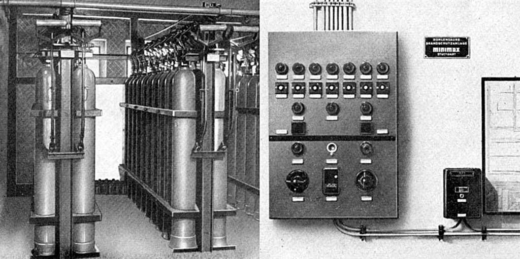 Стационарная установка газового пожаротушения на углекислоте Minimax (слева: баллоны (модули) с углекислотой; справа: система обнаружения пожара)