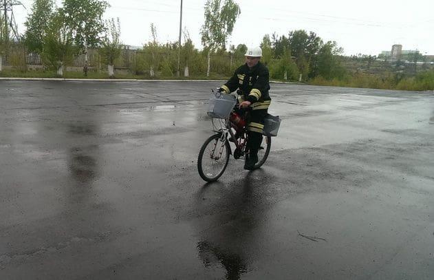 Пожарный велосипед на охраняемом объекте