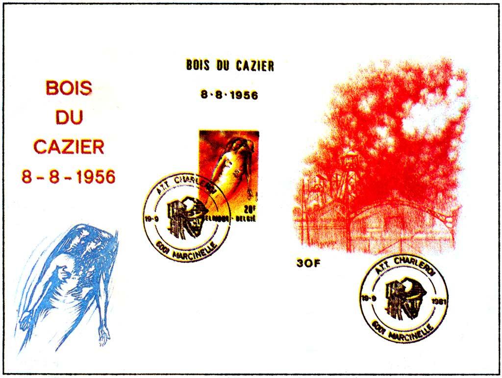 Памятный конверт Авария в шахте Буа-де-Казьер