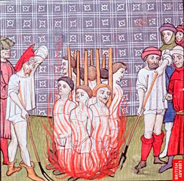 Сожжение преступников (средневековая миниатюра)