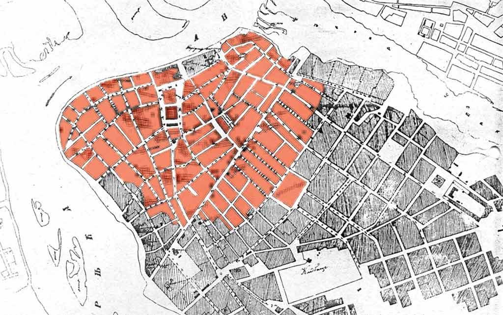 План центральной части Иркутска 1879 года