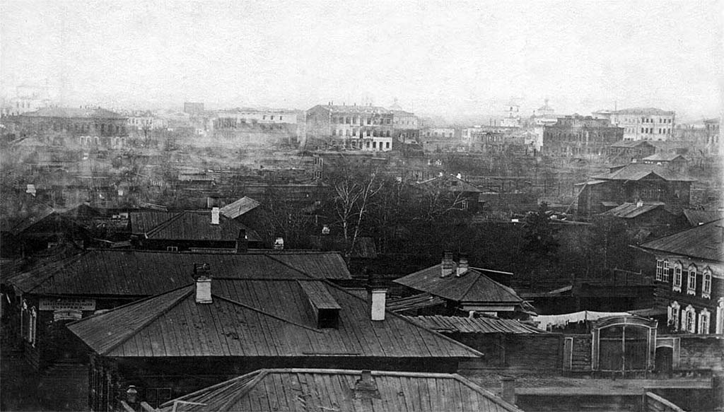 Вид на сгоревший Иркутск с Иерусалимской горы в сторону сгоревших кварталов