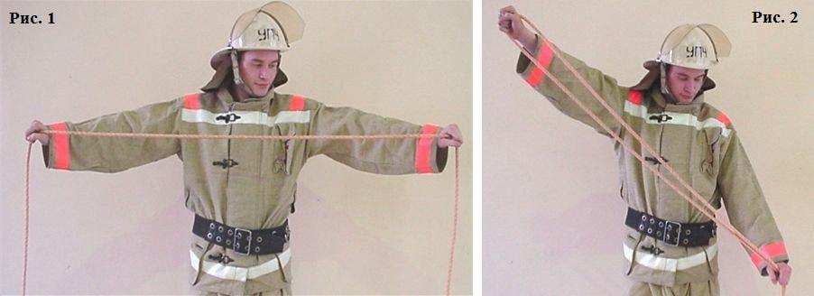 Вязка двойной спасательной петли первым способом