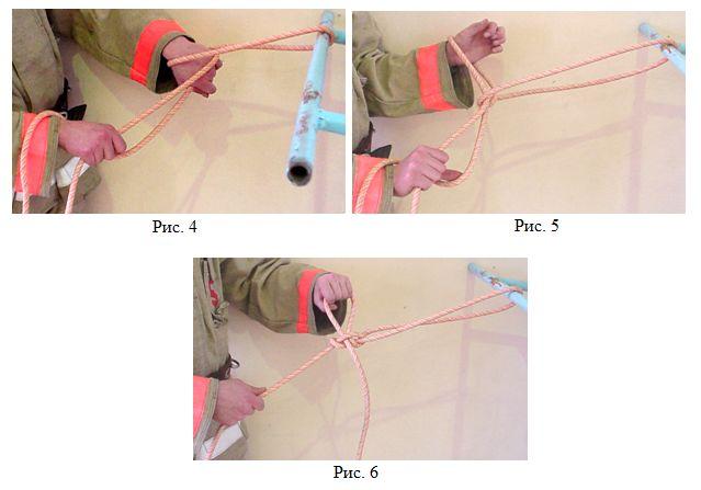 Закрепление веревка за конструкцию 2 способом