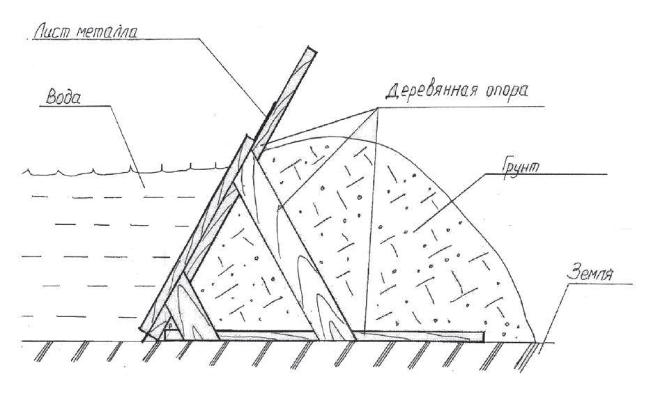Рис. 1. Временная дамба, возведенная с применением листового рулонного металла