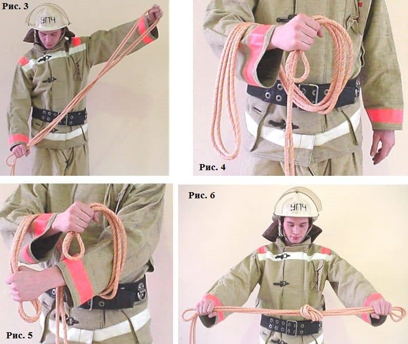 Вязка двойной спасательной петли в картинках