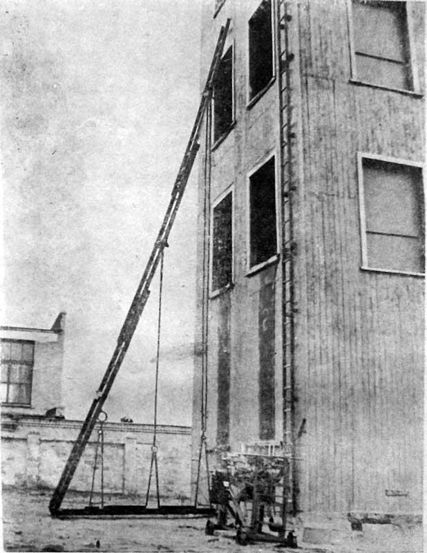 Испытание трехколенных пожарных лестниц