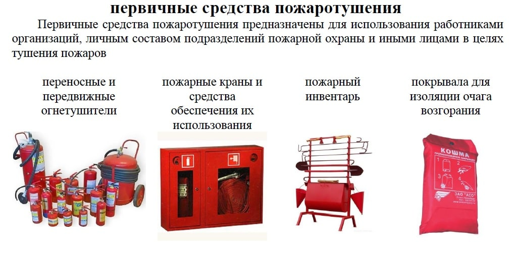первичные средства при пожаротушении