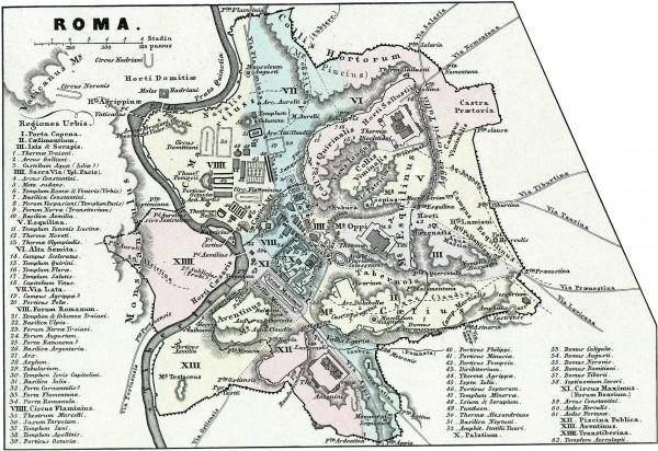 Карта 14 районов Рима