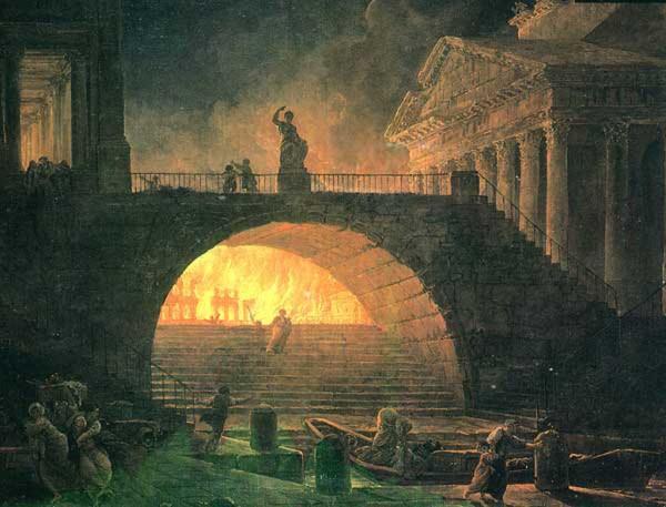 Пожар Рима. Картина Роберта Хьюберта, 1795 год