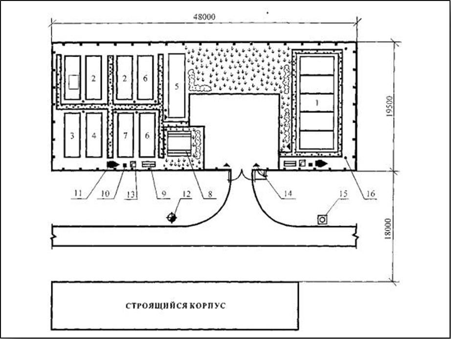 Размещение блок контейнерных зданий в строительном городке