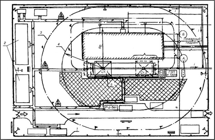 Строительный генеральный план на этапе возведения надземной части здания