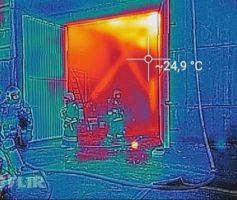 Вид на огонь через тепловизор
