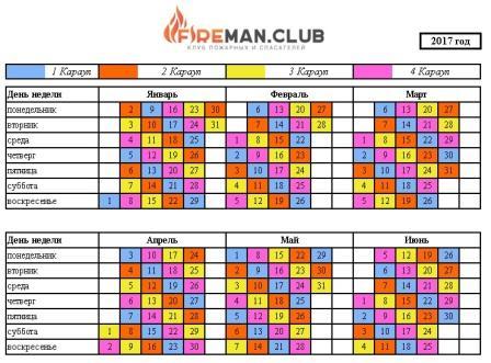 Календарь дежурных смен