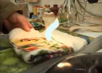 Загорелось полотенце около плиты