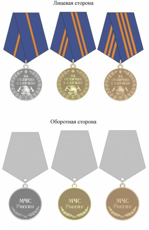 Все степени медалей за отличие в службе