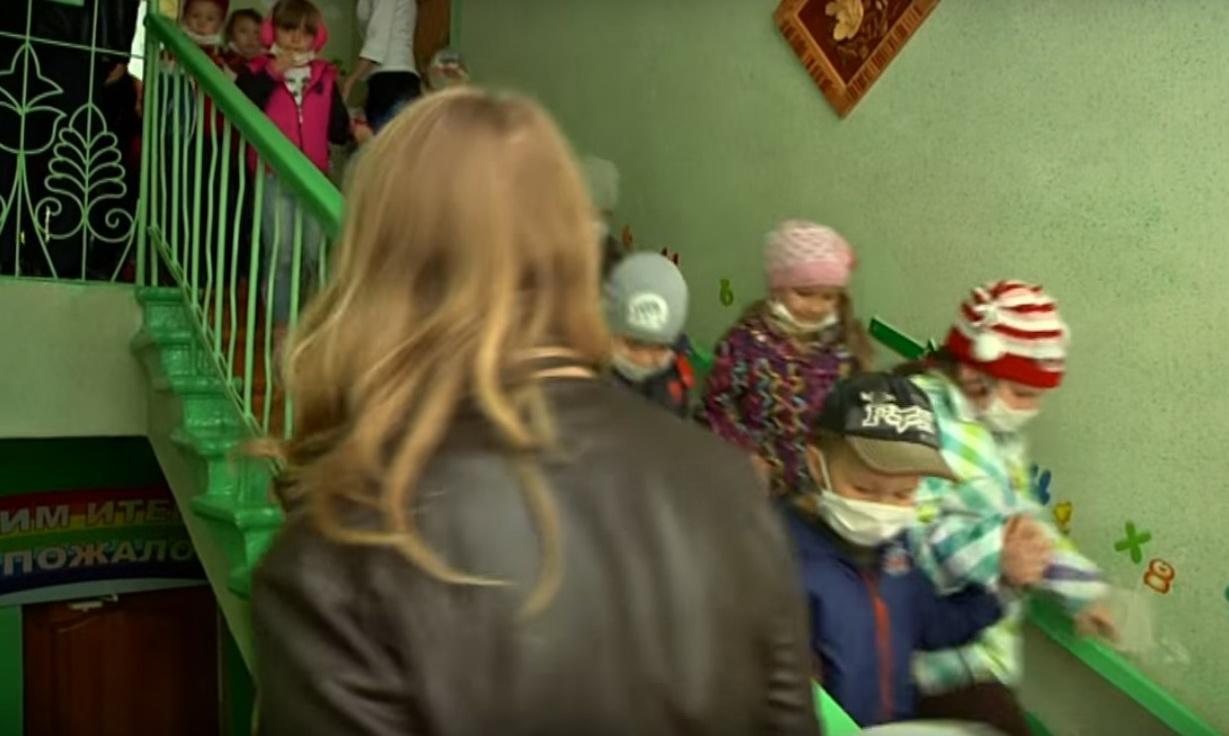 Эвакуация детей из детского сада при пожаре