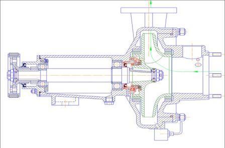 Схема пожарного насоса нормального давления с торцовым уплотнением вала