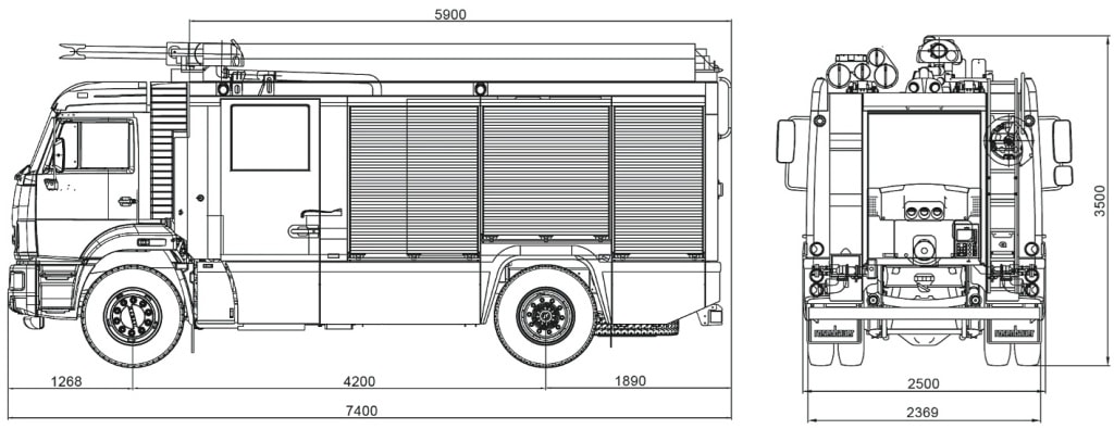 Схема пожарной автоцистерны АЦ-3,2-40-4 на шасси КамАЗ 43253 4х22