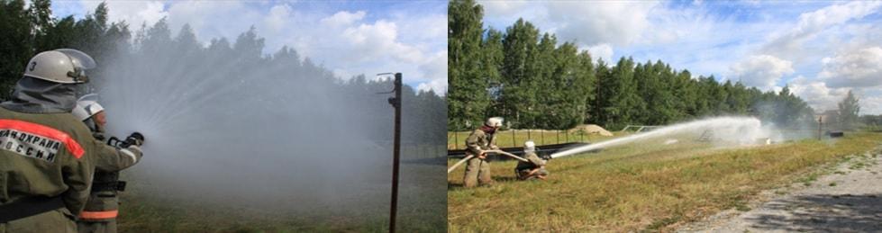 Формирование струй при подаче воды ствола ТАНДЕРФОГ-РУ наглядно