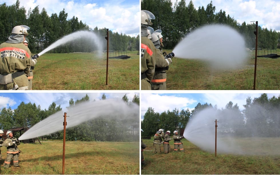 Формирование струй при подаче воды ствола ТАНДЕРФОГ РУ