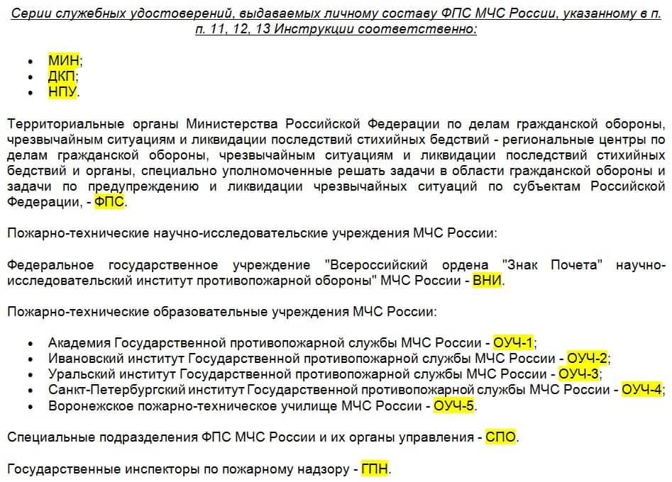 Полный список серий удостоверений МЧС РФ