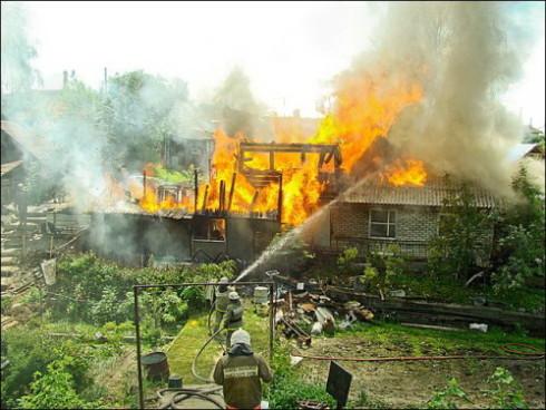 Пожар в частном секторе