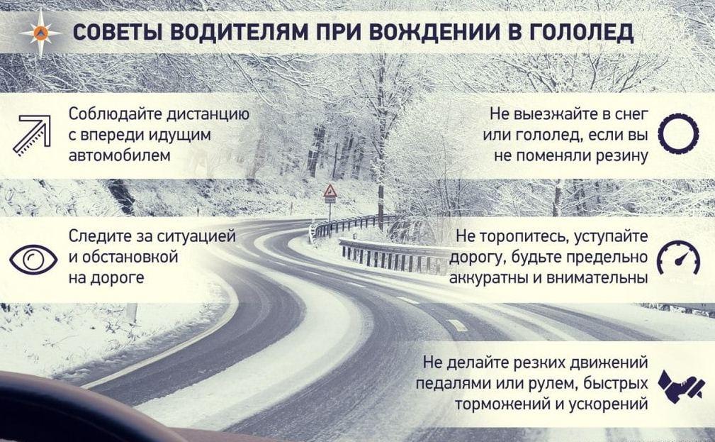 Советы водителям в гололед